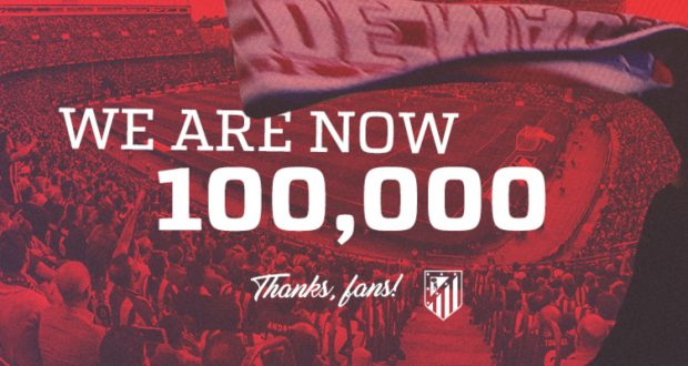 أتلتيكو مدريد ورقم قياسي جديد: 100 ألف عضو من 74 دولة